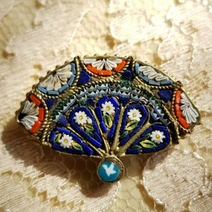 Old micro mosaic brooch Vintage to antique Italy